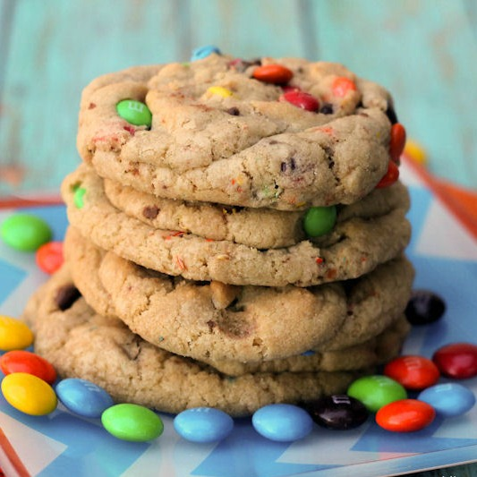 Giant M&M Cookies