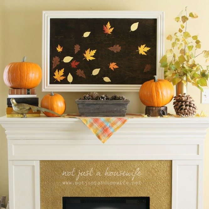 Diy fall decor with not just a housewife for Fall decorating ideas with construction paper