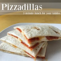 Picture of pizzadilla triangles on a white plate.
